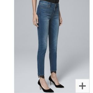 WHBM Classic Rise Lace Hem Skinny Ankle Jeans